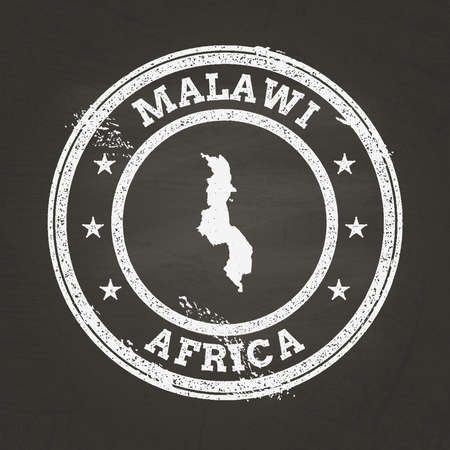 White chalk texture grunge stamp with Republic of Malawi map on a school blackboard. Grunge rubber seal with country map outline, vector illustration.