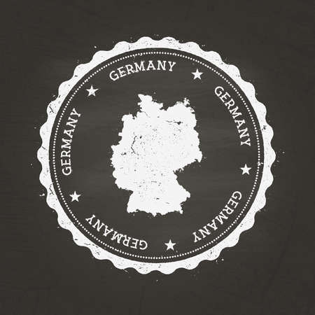 White chalk texture rubber stamp with Federal Republic of Germany map on a school blackboard. Grunge rubber seal with country map outline, vector illustration.