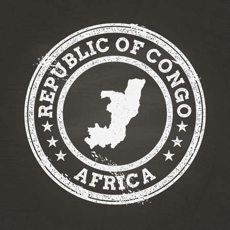 White chalk texture grunge stamp with Republic of the Congo map on a school blackboard. Grunge rubber seal with country map outline, vector illustration.