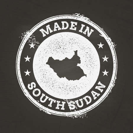 White chalk texture made in stamp with South Sudan map on a school blackboard. Grunge rubber seal with country map outline, vector illustration.