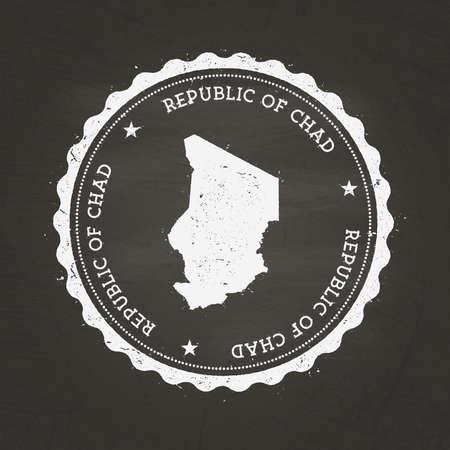 Wit krijt textuur rubber stempel met Republiek Tsjaad kaart op een schoolbord school. Grunge rubberen afdichting met land kaart overzicht, vectorillustratie. Vector Illustratie