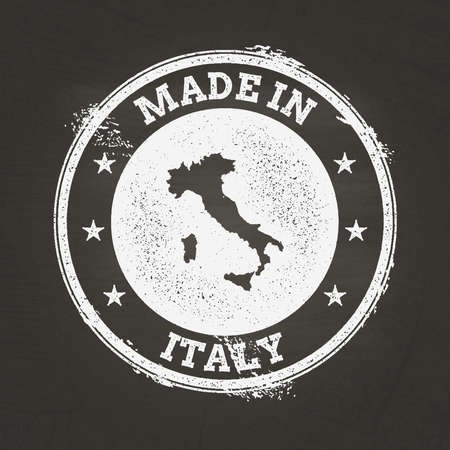 White chalk texture made in stamp with Italian Republic map on a school blackboard. Grunge rubber seal with country map outline, vector illustration. Illustration