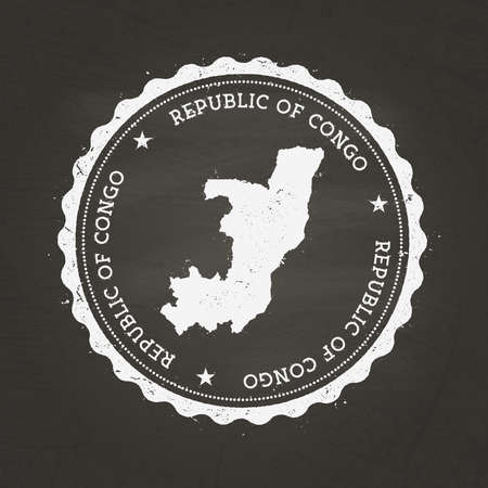 White chalk texture rubber stamp with Republic of the Congo map on a school blackboard. Grunge rubber seal with country map outline, vector illustration.