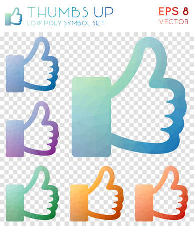 Thumbs up geometric polygonal icons. Bold mosaic style symbol collection. Overwhelming low poly style. Modern design. Thumbs up icons set for infographics or presentation.