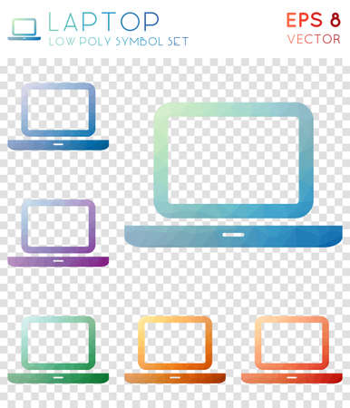 Laptop geometric polygonal icons. Authentic mosaic style symbol collection. Amazing low poly style. Modern design. Laptop icons set for infographics or presentation.