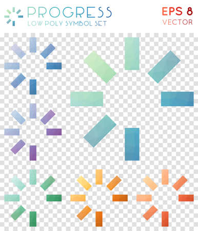 Progress geometric polygonal icons. Beautiful mosaic style symbol collection. Juicy low poly style. Modern design. Progress icons set for infographics or presentation. Illustration