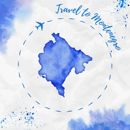 Montenegro watercolor map in blue colors. Travel to Montenegro poster with airplane trace and handpainted watercolor Montenegro map on crumpled paper. Vector illustration.