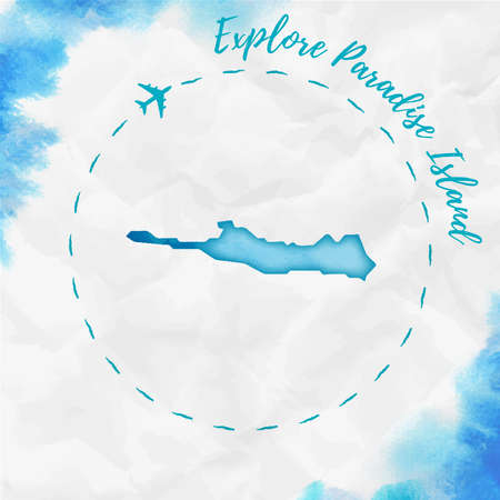 Paradise Island watercolor island map in turquoise colors. Explore Paradise Island poster with airplane trace and handpainted watercolor Paradise Island map on crumpled paper. Vector illustration.