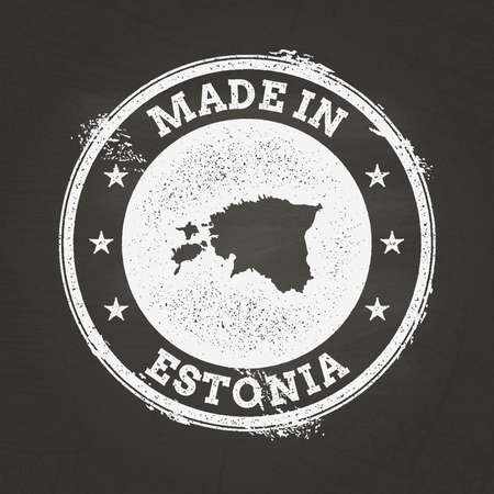 White chalk texture made in stamp with Republic of Estonia map on a school blackboard. Grunge rubber seal with country map outline, vector illustration. Vettoriali
