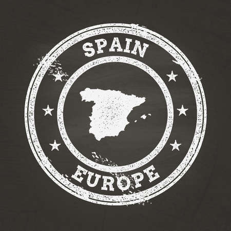 White chalk texture grunge stamp with Kingdom of Spain map on a school blackboard. Grunge rubber seal with country map outline, vector illustration.