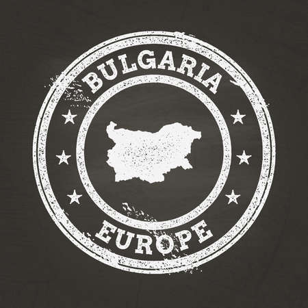 White chalk texture grunge stamp with Republic of Bulgaria map on a school blackboard. Grunge rubber seal with country map outline, vector illustration.
