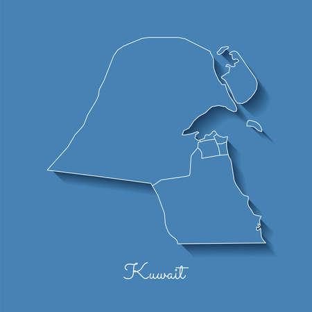 Kuwait region map: blue with white outline and shadow on blue background. Detailed map of Kuwait regions. Vector illustration. Ilustração