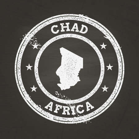 White chalk texture grunge stamp with Republic of Chad map on a school blackboard. Grunge rubber seal with country map outline, vector illustration.