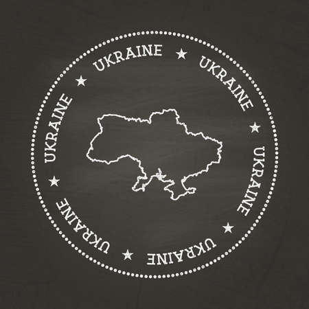 White chalk texture vintage seal with Ukraine map on a school blackboard. Grunge rubber seal with country map outline, vector illustration.