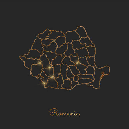 Romania region map: golden glitter outline with sparkling stars on dark background. Detailed map of Romania regions. Vector illustration.