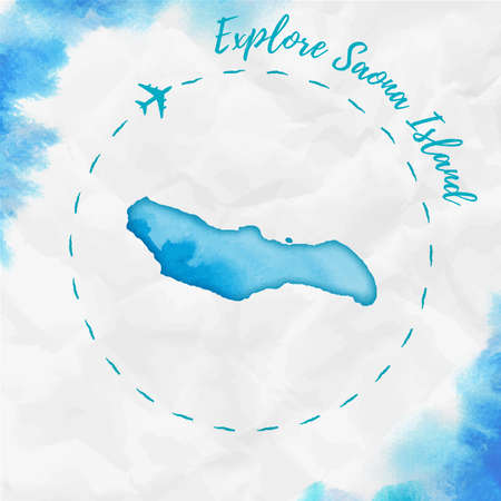Saona Island watercolor island map in turquoise colors. Explore Saona Island poster with airplane trace and handpainted watercolor map on crumpled paper. Vector illustration. Ilustração