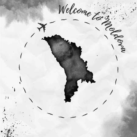 Watercolor map in black colors. Welcome to Moldova poster with airplane trace and handpainted watercolor map on crumpled paper. Vector illustration.