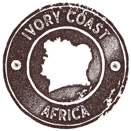 Ivory Coast map vintage stamp. Retro style handmade label, badge or element for travel souvenirs. Brown rubber stamp with country map silhouette. Vector illustration.