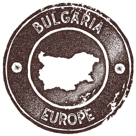 Bulgaria map vintage stamp. Retro style handmade label, badge or element for travel souvenirs. Brown rubber stamp with country map silhouette. Vector illustration.