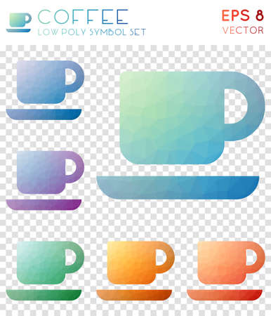 Coffee geometric polygonal icons. Amusing mosaic style symbol collection. Artistic low poly style. Modern design. Coffee icons set for infographics or presentation. Illustration
