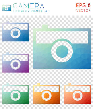 Camera geometric polygonal icons. Alluring mosaic style symbol collection. Positive low poly style. Modern design. Camera icons set for infographics or presentation.