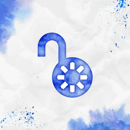 Lock open watercolor icon. Astonishing hand drawn style symbol. Favorable watercolor symbol. Modern design for infographics or presentation.