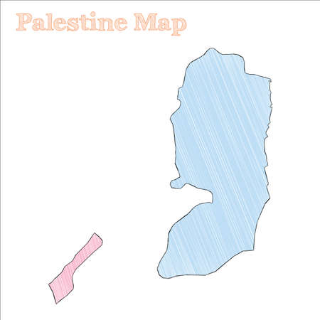 Palestine hand-drawn map. Colourful sketchy country outline. Appealing Palestine map with provinces. Vector illustration.