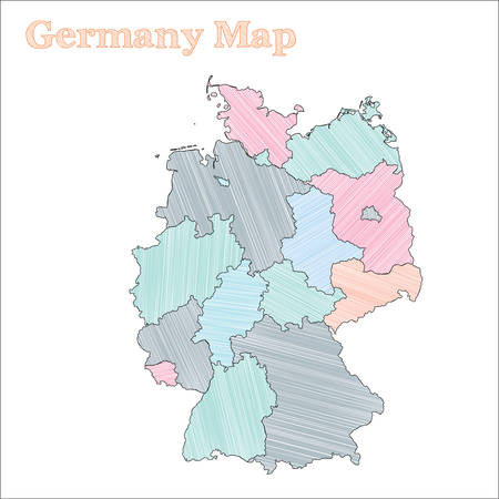 Germany hand-drawn map. Colourful sketchy country outline. Excellent Germany map with provinces. Vector illustration. Illusztráció