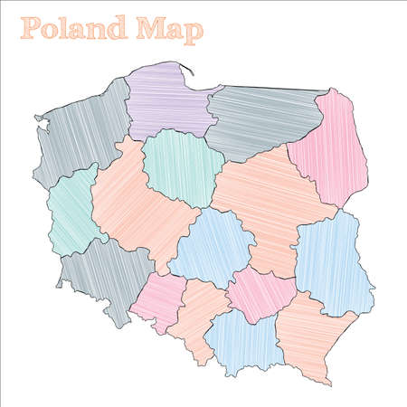 Poland hand-drawn map. Colourful sketchy country outline. Adorable Poland map with provinces. Vector illustration.