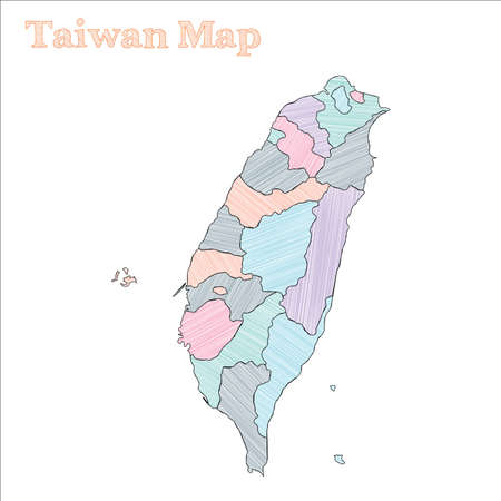 Taiwan hand-drawn map. Colourful sketchy country outline. Emotional Taiwan map with provinces. Vector illustration.  イラスト・ベクター素材