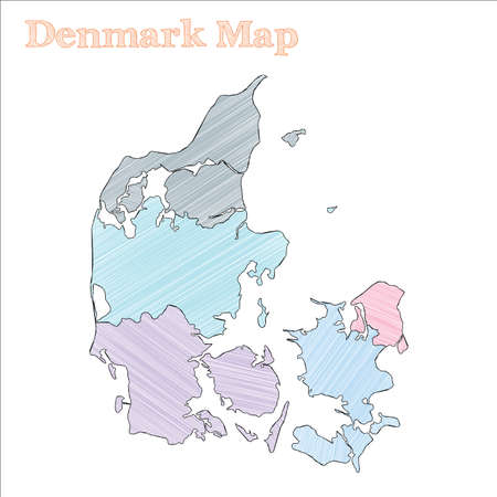 Denmark hand-drawn map. Colourful sketchy country outline. Exotic Denmark map with provinces. Vector illustration. Illustration