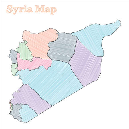 Syria hand-drawn map. Colourful sketchy country outline. Cute Syria map with provinces. Vector illustration. Ilustração