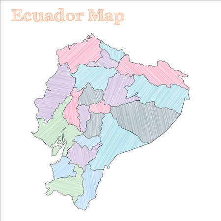 Ecuador hand-drawn map. Colourful sketchy country outline. Extraordinary Ecuador map with provinces. Vector illustration.