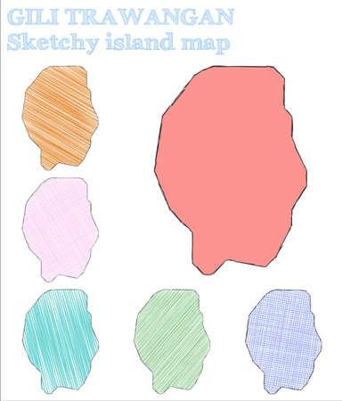 Gili Trawangan sketchy island. Original hand drawn island. Overwhelming childish style Gili Trawangan vector illustration. Illusztráció