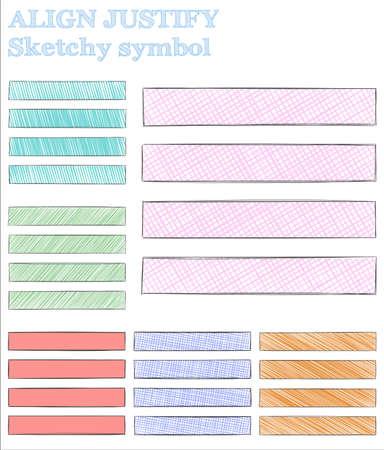 Align justify sketchy symbol. Trending hand drawn symbol. Unique childish style align justify vector illustration.