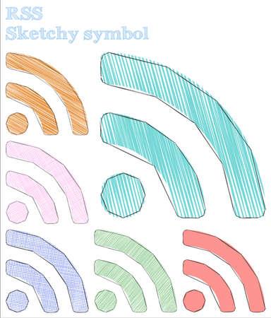 Rss skizzenhaftes Symbol. Trendiges handgezeichnetes Symbol. Ansprechende kindische Stil-RSS-Vektor-Illustration. Vektorgrafik