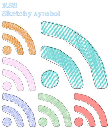 Rss sketchy symbol. Trending hand drawn symbol. Appealing childish style rss vector illustration.