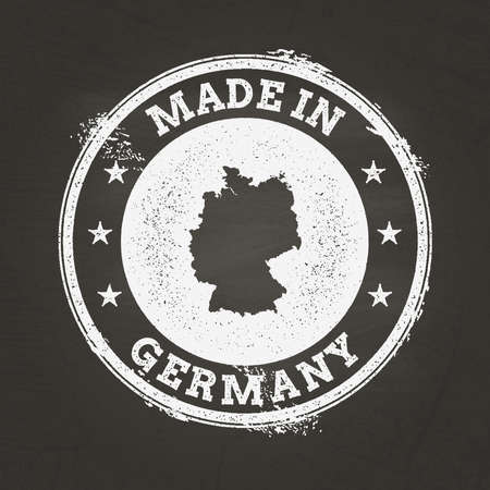 White chalk texture made in stamp with Federal Republic of Germany map on a school blackboard. Grunge rubber seal with country map outline, vector illustration. Illusztráció