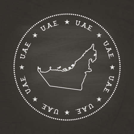 White chalk texture vintage seal with United Arab Emirates map on a school blackboard. Grunge rubber seal with country map outline, vector illustration. Vectores