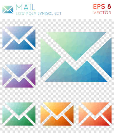 Mail geometric polygonal icons. Awesome mosaic style symbol collection. Exceptional low poly style. Modern design. Mail icons set for infographics or presentation. Illustration