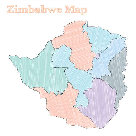 Zimbabwe hand-drawn map. Colourful sketchy country outline. Fascinating Zimbabwe map with provinces. Vector illustration.