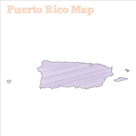 Puerto Rico hand-drawn map. Colourful sketchy country outline. Alive Puerto Rico map with provinces. Vector illustration. Illustration