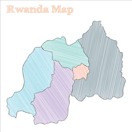 Rwanda hand-drawn map. Colourful sketchy country outline. Authentic Rwanda map with provinces. Vector illustration.