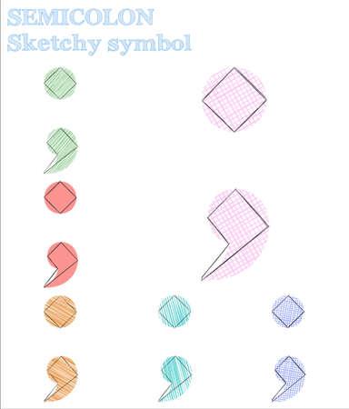 Semicolon sketchy symbol. Astonishing hand drawn symbol. Curious childish style semicolon vector illustration. Illustration