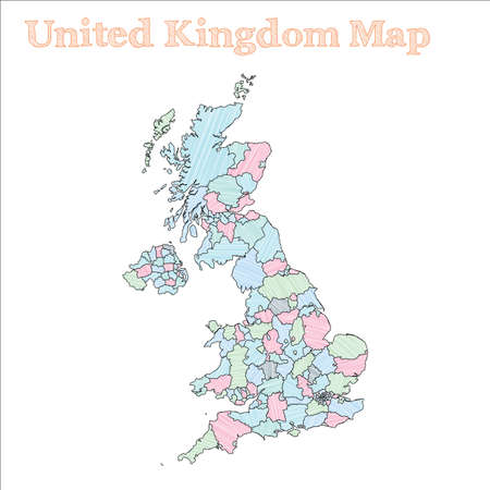 United Kingdom hand-drawn map. Colourful sketchy country outline. Glamorous United Kingdom map with provinces. Vector illustration. Иллюстрация