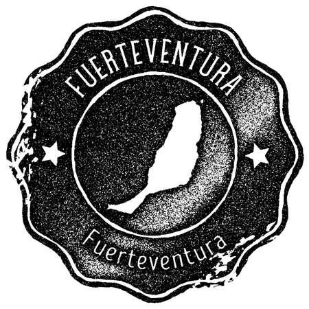 Fuerteventura map vintage stamp. Retro style handmade label, badge or element for travel souvenirs. Black rubber stamp with island map silhouette. Vector illustration. Vektorové ilustrace