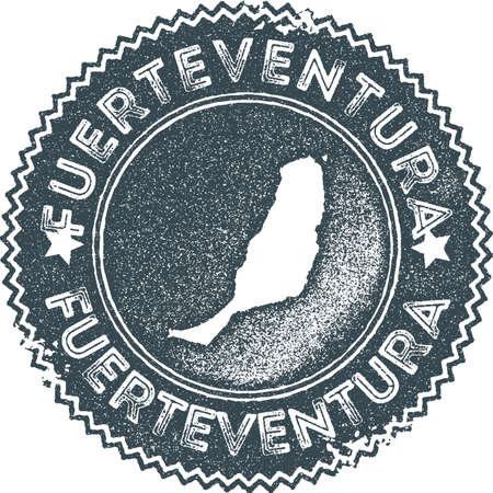 Fuerteventura map vintage stamp. Retro style handmade label, badge or element for travel souvenirs. Dark blue rubber stamp with island map silhouette. Vector illustration. Vektorové ilustrace
