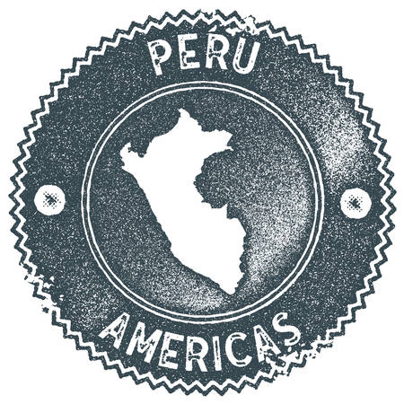 Peru map vintage stamp. Retro style handmade label, badge or element for travel souvenirs. Dark blue rubber stamp with country map silhouette. Vector illustration. Foto de archivo - 113322074