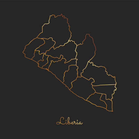 Liberia region map: golden gradient outline on dark background. Detailed map of Liberia regions. Vector illustration.