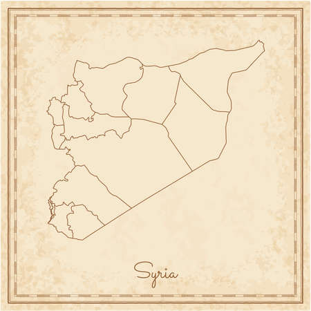 Syria region map: stilyzed old pirate parchment imitation. Detailed map of Syria regions. Vector illustration. Illustration